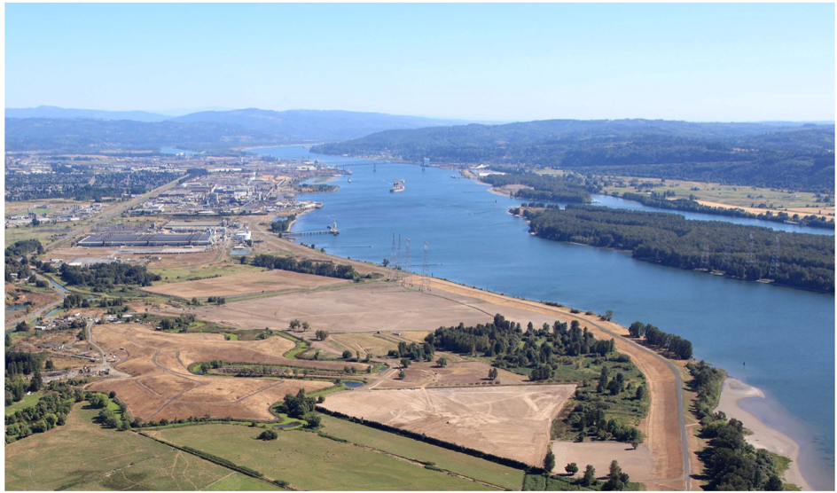 Aerial photo of Barlow Point looking upriver (Columbia River)